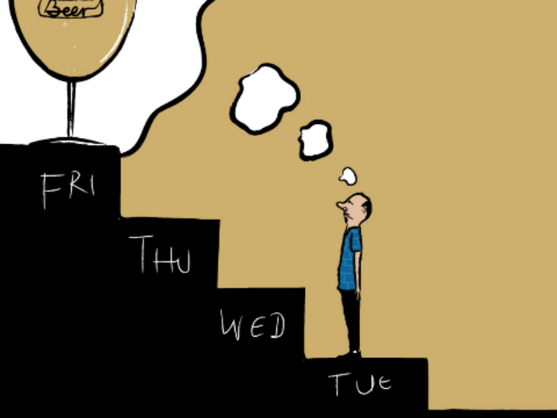 Tuesday downsign week days friday thinking alcohol drink beer illustration tuesday