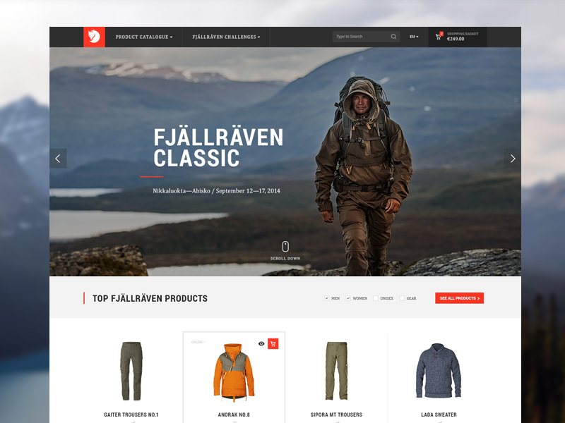 Fjällräven Redesign Concept typography redesign shopify web design ui ux fjällräven outdoor clothing ecommerce eshop