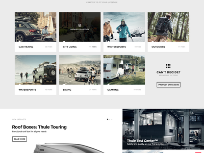 Thule Redesign Concept masonry shopify thule bootstrap ecommerce eshop redesign concept ui ux