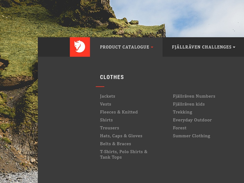 Fjällräven Dropdown Animation animation dropdown ecommerce interaction product catalogue ui ux eshop redesign