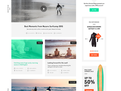 MSW Redesign Concept shopify surf blog grid bootstrap redesign ux ui ecommerce