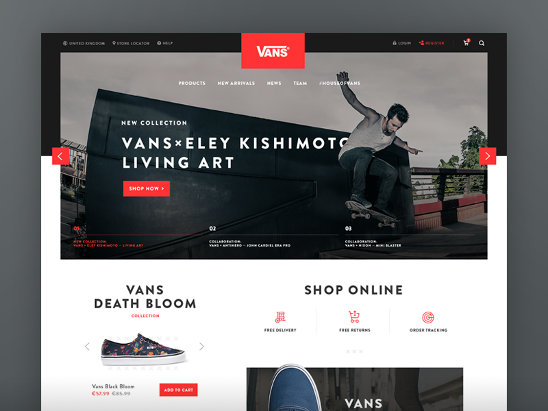 Vans Redesign Concept typography shopify minimal clean shoes black red vans eshop ecommerce ui ux