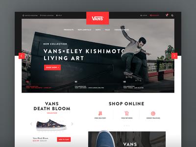 Vans Redesign Concept typography shopify minimal clean shoes black red vans eshop ecommerce ui ux