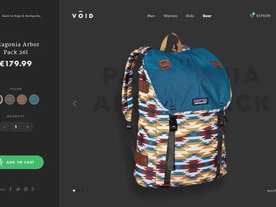 VŌID - Product Page shopify sidebar parallax dark outdoor ux ui eshop ecommerce