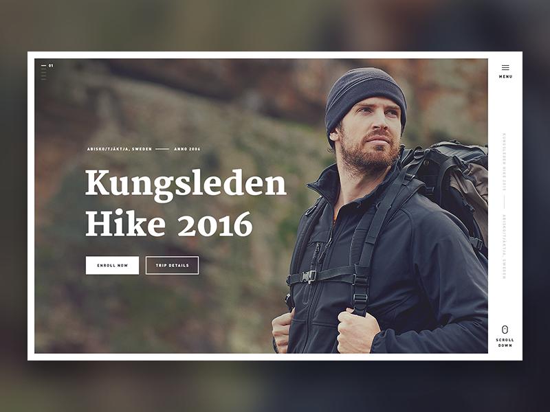 Kungsleden Hike 2016 - Landing typography minimal single page ux ui outdoor