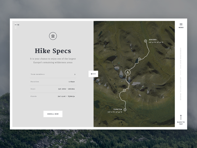 Kungsleden Hike 2016 - Hike Specs interactive map typography single page outdoor minimal ux ui