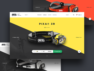 Petzl Redesign Concept - Product Page eshop product flat petzl outdoor ux ui ecommerce