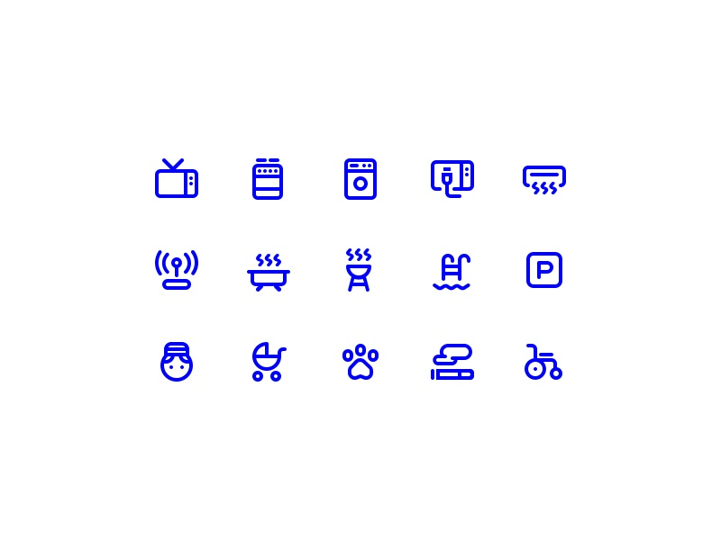 GoBornholm - Accommodation Facility Icons features room booking accommodation facility ui set icon