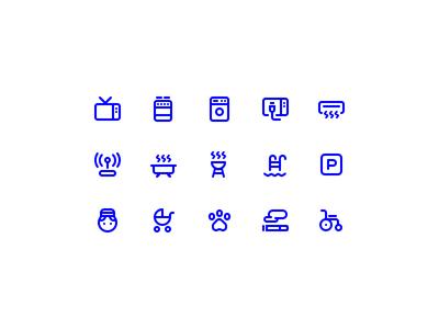 GoBornholm - Accommodation Facility Icons features room booking accommodation facility ui set icon