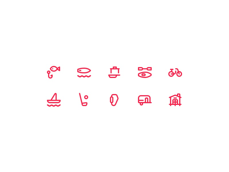 GoBornholm - Activity Icons active outdoor stroke outline linear minimal activity set icon