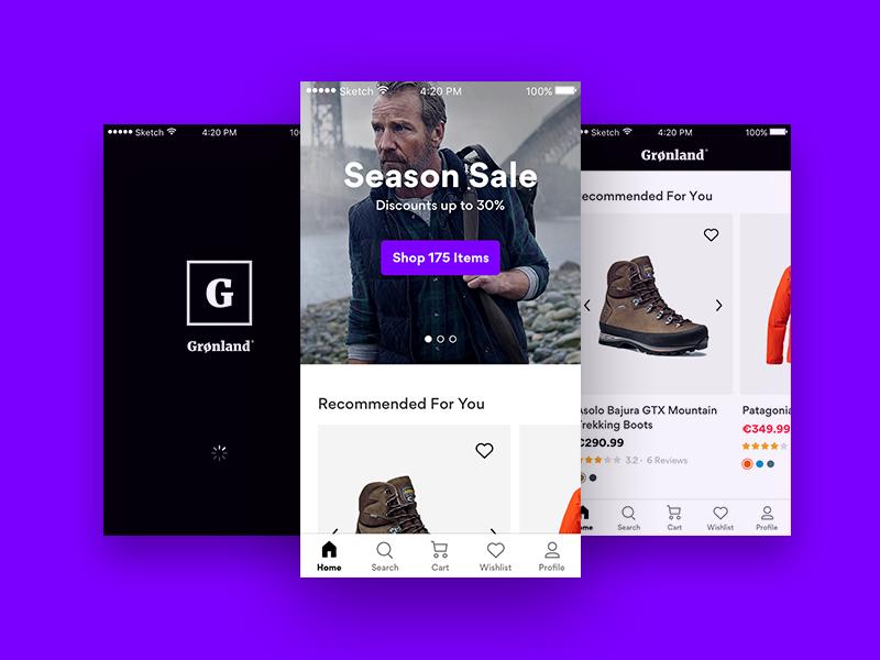 Grønland – Outdoors eCommerce App gordita product outdoors shopify ios app eshop ecommerce ux ui