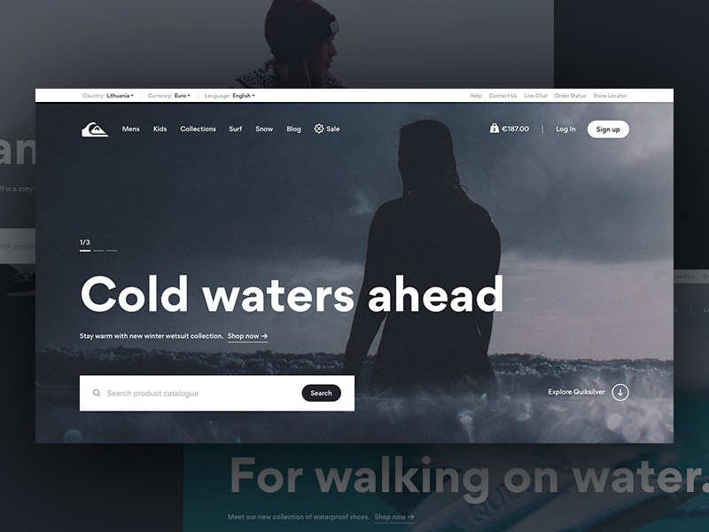 Quiksilver Revamp minimal search quiksilver eshop ecommerce outdoors surf redesign shopify ux ui