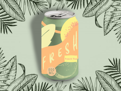 Peach Tea can design dribbble product design tropical color fruit drink peach can packagedesign productdesign minimal shapes illustration graphicdesign 2d branding design flat vector photoshop