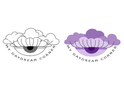 Custom logo for a My Daydream Corner branding girl lashes eyeball retro purple daydream clouds eye smallbusiness minimal 2d logo illustration graphicdesign design creativity photoshop flat vector
