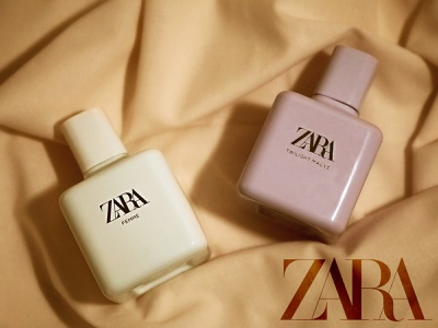 ZARA perfume photography business minimal graphicdesign editing app silk colors logo perfume fashion brand editing branding product creativity photoshop