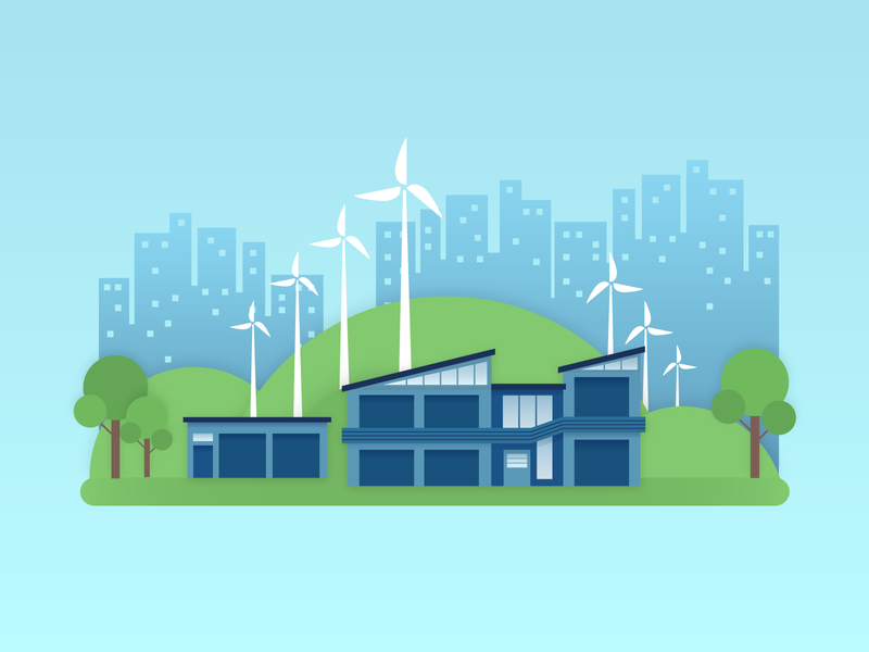 Eco-Friendly Storage windmill architechture eco-friendly city enviroment business building storage vector illustration design