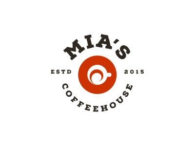 MIA'S Coffehouse emblem cup swirl cafe coffee