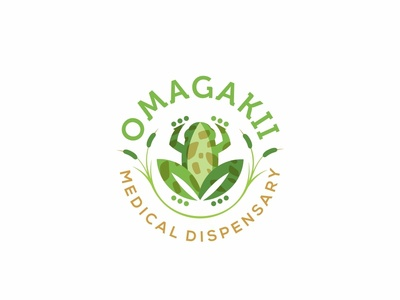 Omagakii Medical Dispensary logo cat tail frog leaf
