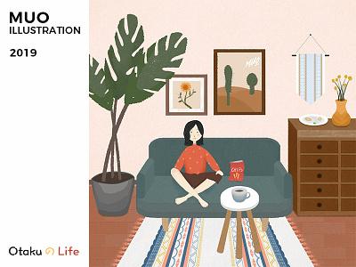 Otaku の Life otaku home drawing illustration