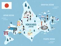 Hokkaido map illustration