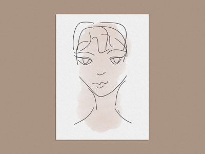 Woman's Face Illustration drawing modern art print woman face hand drawn lineart illustration