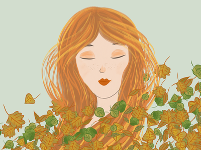 Autumn orange autumn face art digitalart hand drawn illustration