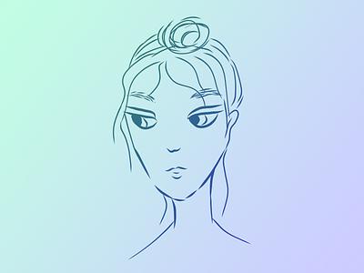 Mona avatar face hand drawn digitalart art illustration