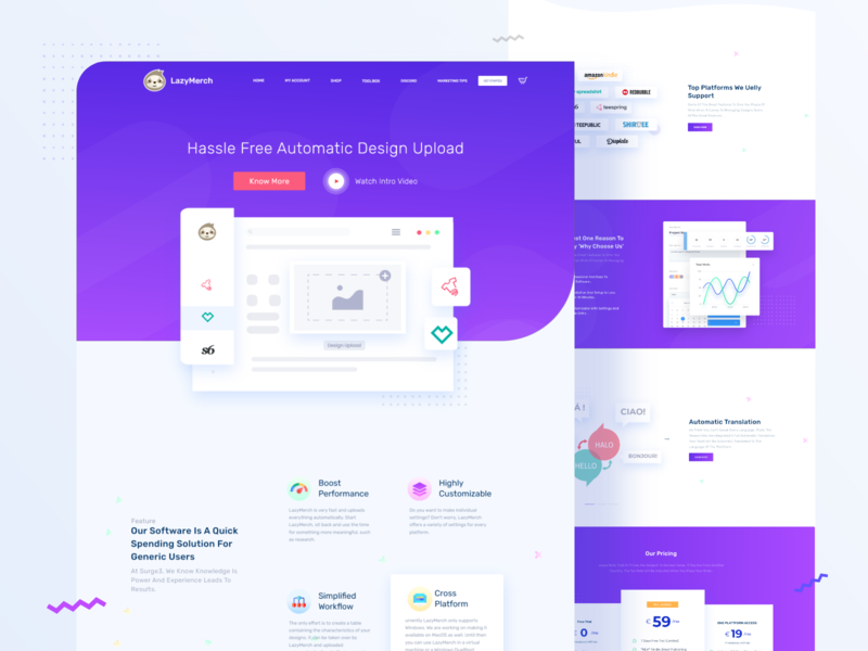 SAAS Landing page design for lazymerch classic modern landing page design elementor elementor based template wordpress theme automatic design upload minimal clean uidesign indian designer indian agency indianpix software design purple web design saas website lazymerch saas landing page saas