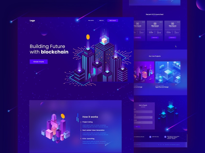 ICO landing page for real estate token clean real estate technology modern sanket indian designer wordpress design premium elementor templates elementor templates darktheme dark blue indianpix blockchain real estate token crypto landing page crypto real estate
