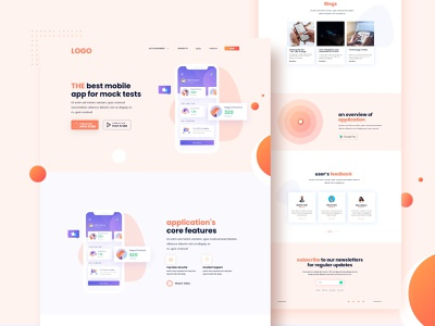 Mobile App Landing page Design purple indian design studio web design modern elegant simple classic light theme orange ui  ux sanket indian designer indianpix designs indianpix wordpress template design elementor templates webdesign app launch app page landingpage