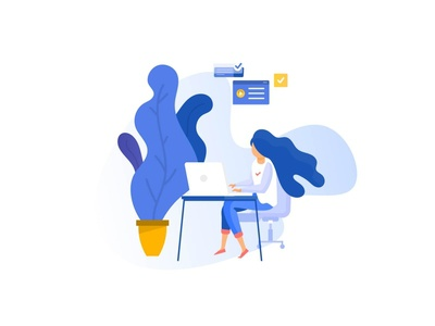 Work from home illustration indian studio indian design studio indianpix freelance designer freelance freebie minimal illustrations customer support office work colleague relaxing clean classic home office work from home team co-working working mackbook apple