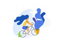 Girl Cycling Classic illustration bicycles ride light theme illustration blue yellow conceptual premium minimal illustration indian designer indianpix working from home working wondering fitness cycling classic illustration illustration classic simple clean