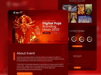 Digital Durga Puja Event Landing Page indian design agency webdesign traditional minimal sanket pal indian designer sanket durga puja 2020 event landing page indian indianpix signgaze banding landing page