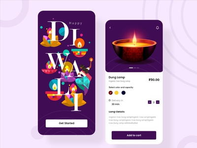 Diwali e-commerce App UI kit Freebie free ui kit free download app ui ui design sanket diwali e-commerce lamp shop indian app designer indian designer indianpix indian app dark theme minimal app clean e-commerce app e-commerce