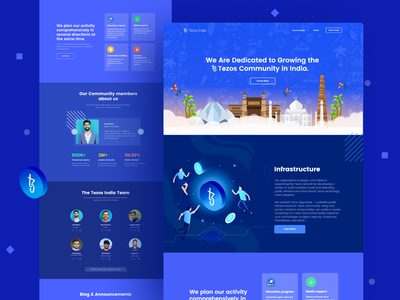 Tezos india Webdesign indian blockchain designer indianpix design studio tezos official tezos community india dark theme blue theme tezos india foundation indian style indian blue webdesign landing page blockchain product tezos product crypto tezos blockchain blockchain xtz tezos india tezos