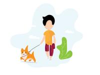 Morning walk illustration