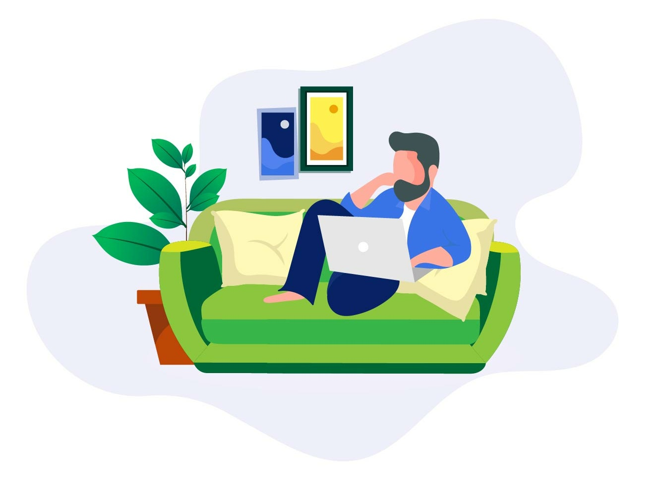 work from home illustration by Sanket on Dribbble