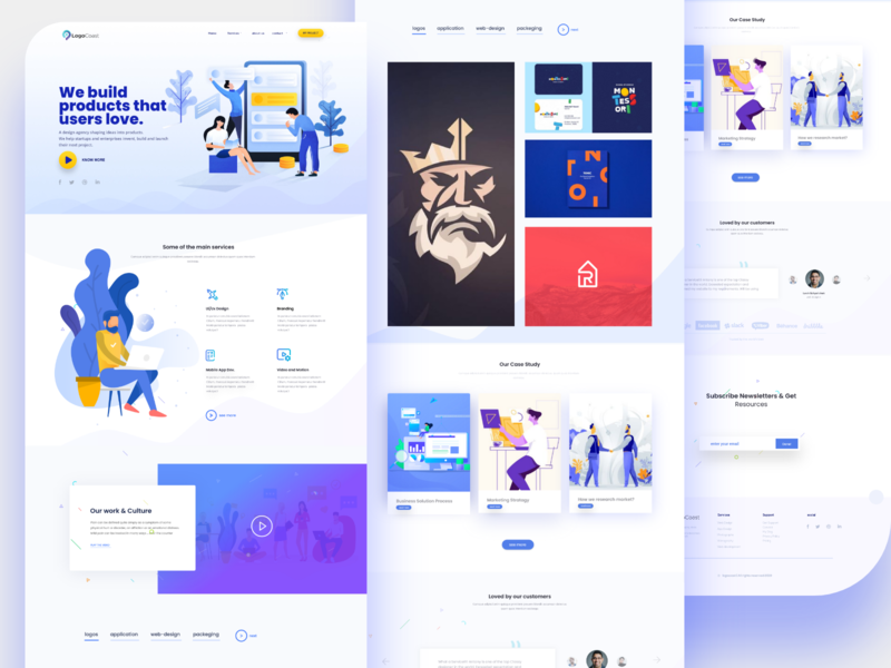 Design Studio Landing page concept design ageny vector uidesign team landing page indianpix designs indianpix illustration design flat illustration uiux clean ui webdesign landingpage custom creative collaboration clean branding blue team blue