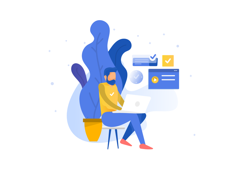 working man illustration yellow office space working man work from home man vector uidesign team landing page indianpix design indianpix illustraion flat illustration custom creative collaboration clean branding blue team blue