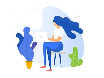 Bilderesultater for woman sitting by computer illustration