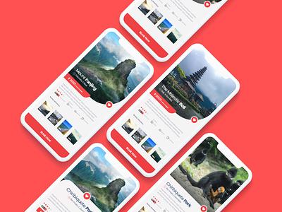 Travel Booking App Ui ux research modern application uiux clean ux clean ui ui design tour indonesia bali clean red ios booking app travel app traveling