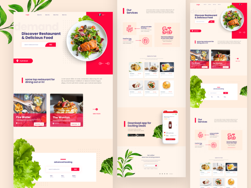 Food Delivery Landing page Exploration ux web design ui design indianpix creative design adobexd freebie illustration clever clean ui modern lite white food app food delivery food web design restaurant food clean creative