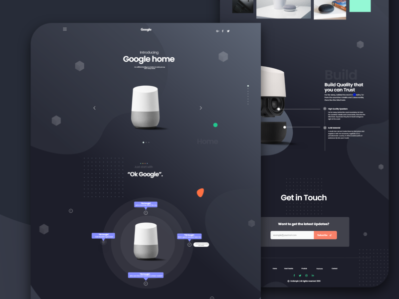 Google Home Product Landing Page concept webdesign design australian studio australian agency studio express team wordpress theme indianpix modern uidesign ui  ux clean product page dark theme dark ui landing page google assistant google mini google home google design
