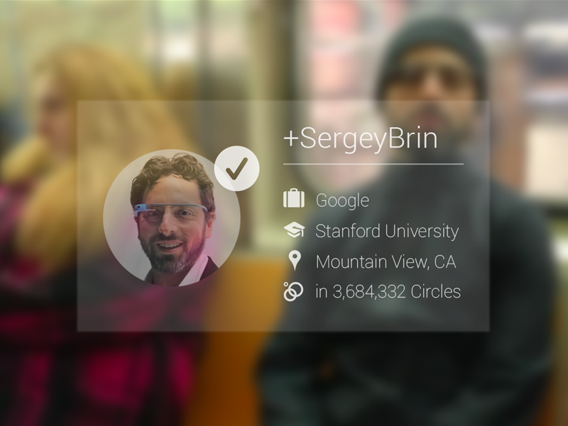 Google Glass - Facial Recognition with Google+ (WIP) simple concept glass google app wip sergey brin goggles google glass google plus concept ui facial recognition sergey brin google goggles