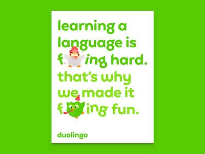 Duolingo New Year 2021 Ad Campaign Poster typography app colorful logo mockup poster campaign advertising brand identity brand duolingo identity minimal design geometric simple branding