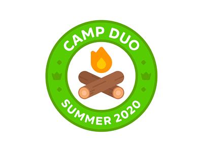 Duolingo Camp Duo Logo summer camp simple patch minimal logo illustration identity geometric embroidery duolingo colorful branding brand identity brand badge