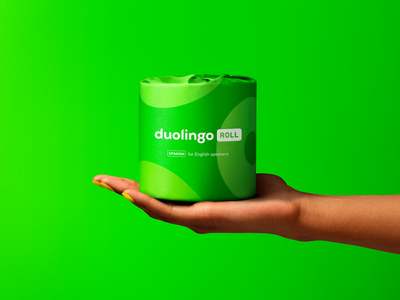 Duolingo Roll april fools physical product product photography photography branding design dtc product toiletpaper design duolingo geometric brand identity minimal branding packaging