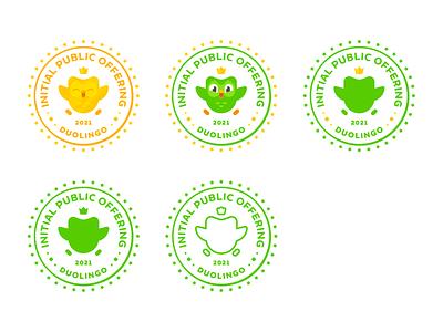 Duolingo IPO (Initial Public Offering) Logo times square nasdaq initial public offering ipo brand seal design duolingo geometric simple brand identity logo minimal branding