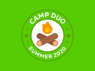 Duolingo Camp Duo Logo badge seal illustration design duolingo geometric simple brand identity minimal logo branding