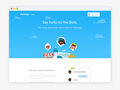 Duolingo Bots - Launch landing page app landing page splash learning languages chat bot bots duolingo